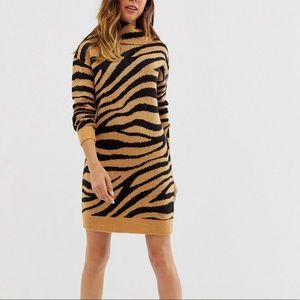 Animal Print Rolled Neck Sweater Dress
